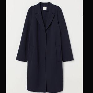 Dark Blue Knee Length Coat